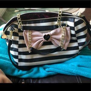 Betsey Johnson large satchel pink bow